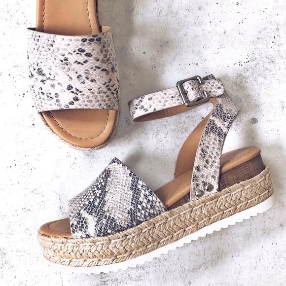 6dccab0d41b NEW! Snakeskin Print Espadrille Flatform Sandals Boutique